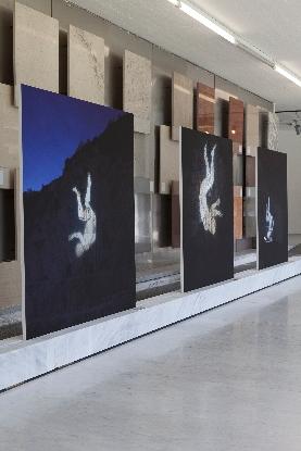 Santiago Morilla, Carrara Marble Falls # 1,3,4 Stampa Fine Art Epson inkjet su carta Hahnemuhle 305gr 120x120 cm performance site-specific realizzata alle cave di marmo di Colonnata 2013. Courtesy Stefano Lanzardo