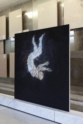 Santiago Morilla, Carrara Marble Falls #3, Stampa Fine Art Epson inkjet su carta Hahnemuhle 305gr 120x120 cm performance site-specific realizzata alle cave di marmo di Colonnata 2013. Courtesy Stefano Lanzardo