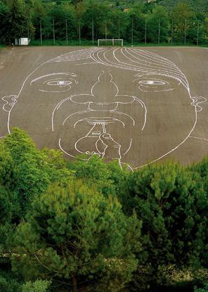 Santiago Morilla, Monsters Game, disegno in gesso su campo da calcio intervento site specific e performance, 7140 m2, Montopoli 2010.jpg